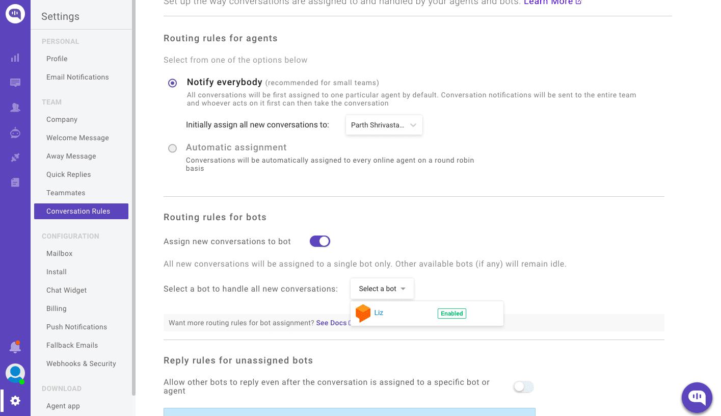 integrate dialogflow bot in website conversation routing