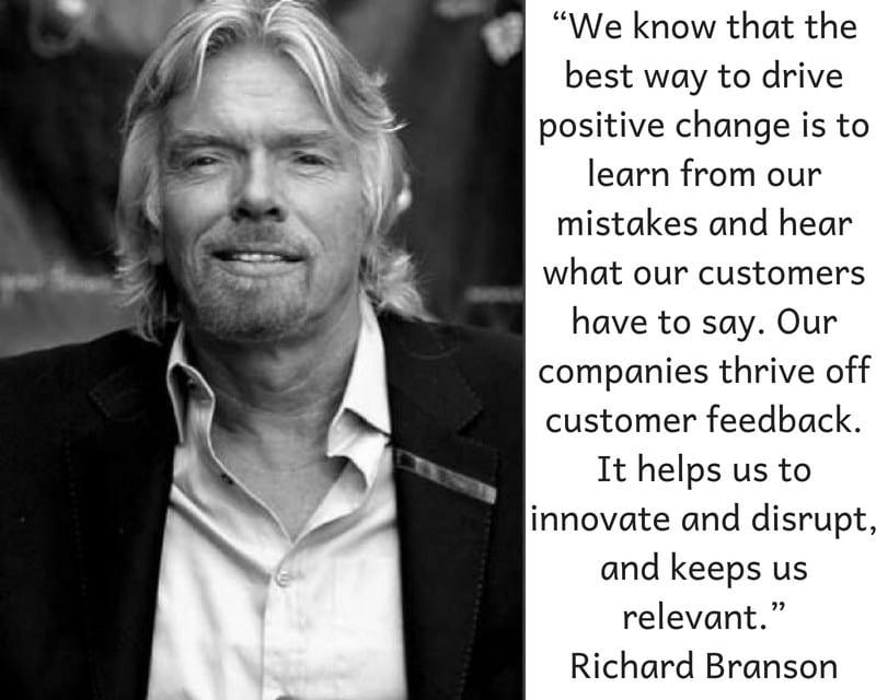Richard Branson quote on customer feedback