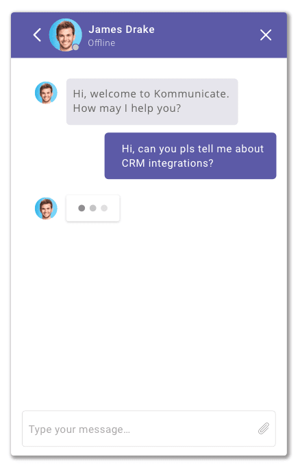 chat widget typing indicator kommunicate