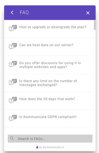 FAQs in chat widget
