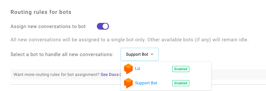 Kommunicate routing rules for bots