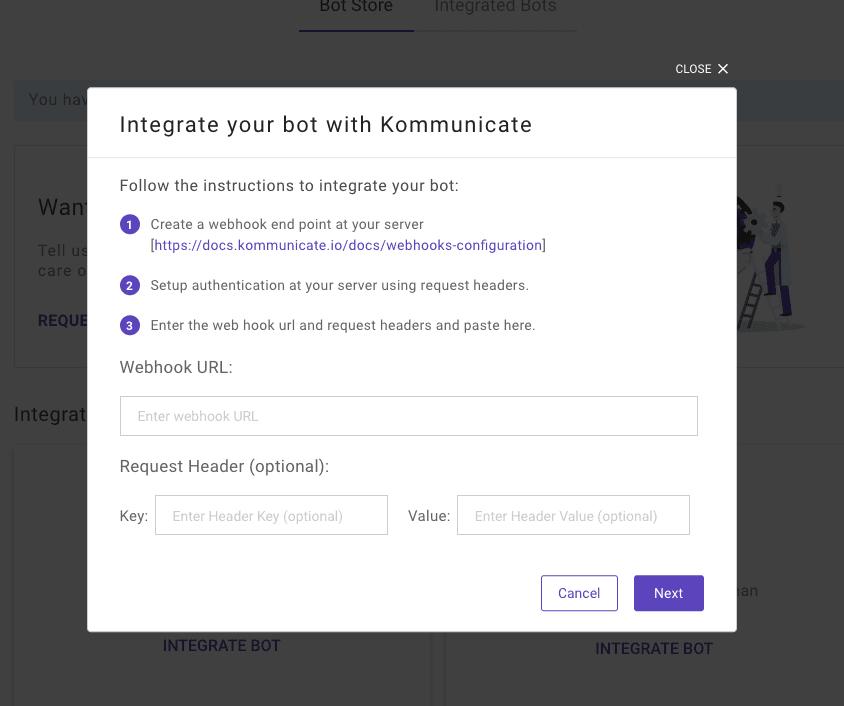 custom bot integration with kommunicate