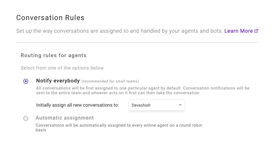 Default agent settings kommunicate