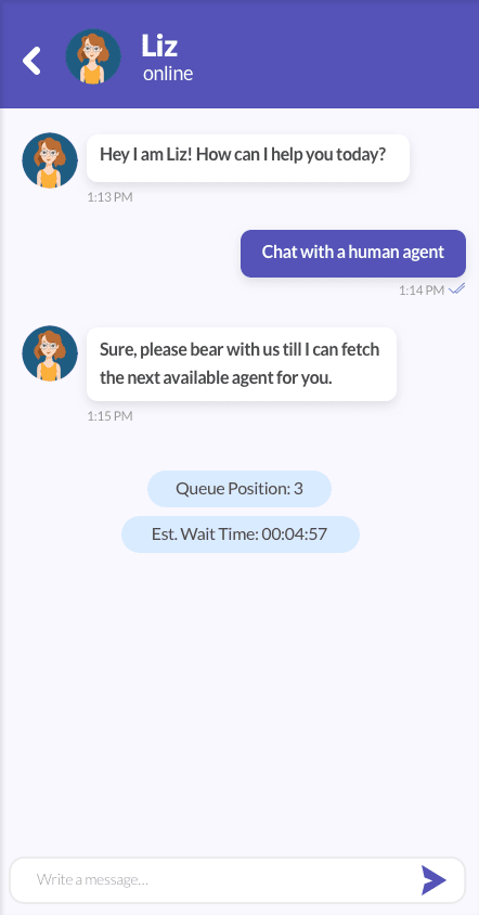 Conversation transition from chatbot to human