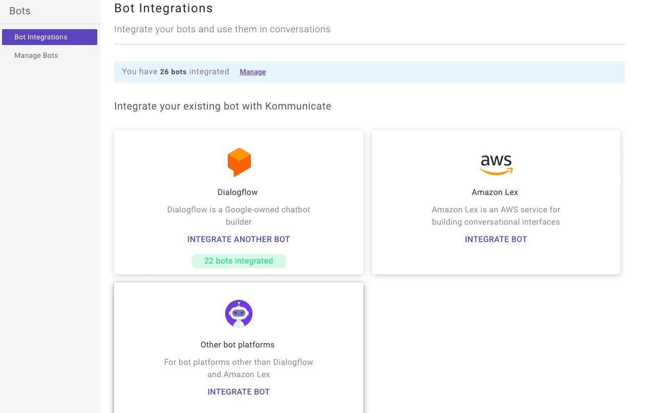 integrate dialogflow bot in website kommunicate UI