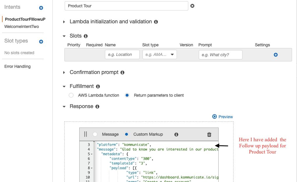 button response in Amazon Lex Custom markup