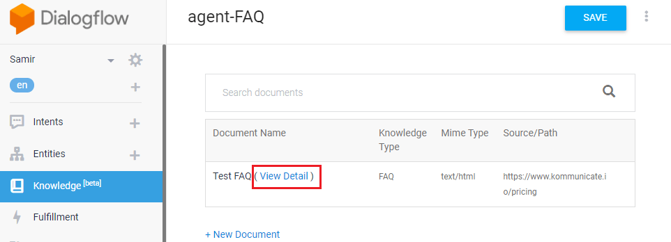 create faq bot - knowledge base connector - view details