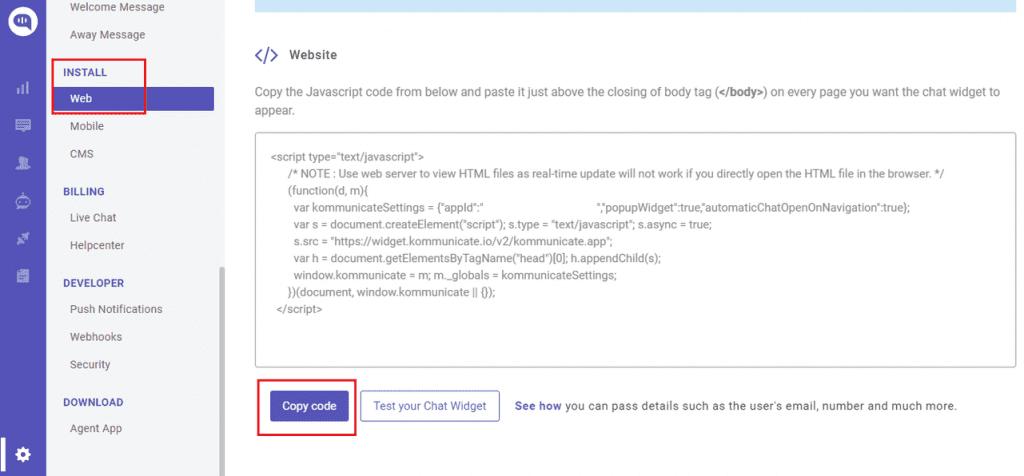 kommunicate livechat installation code