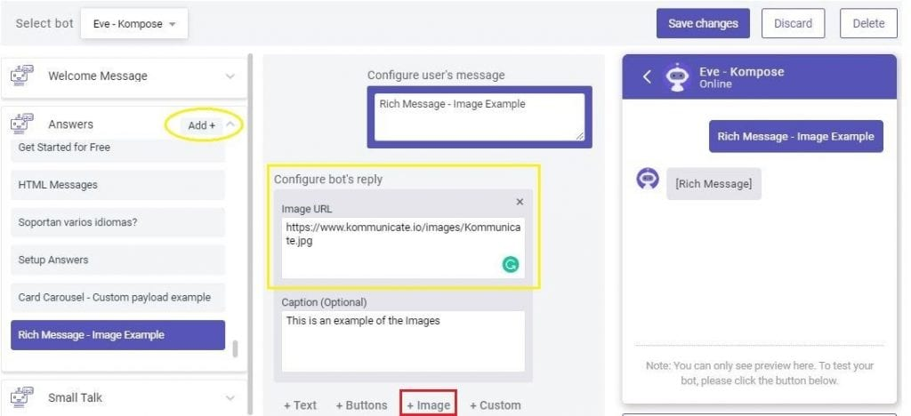 rich message buttons in chatbot