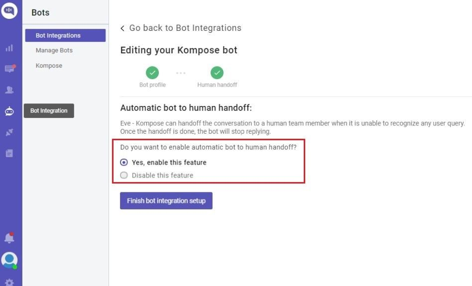 chatbot to human hand off