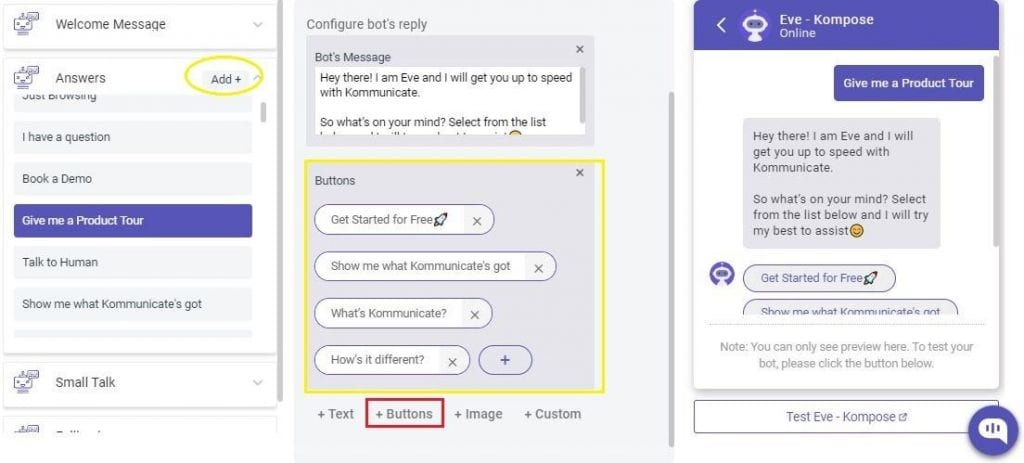 How to make chatbot- Add Button