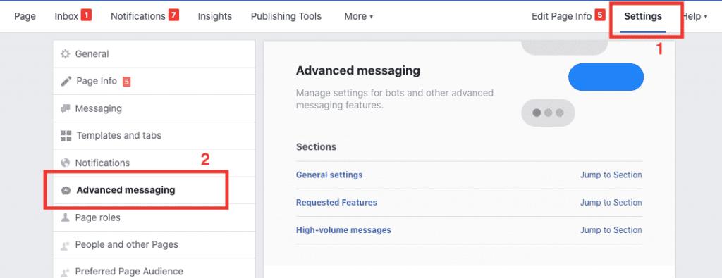 Kommunicate's facebook integration - advanced settings