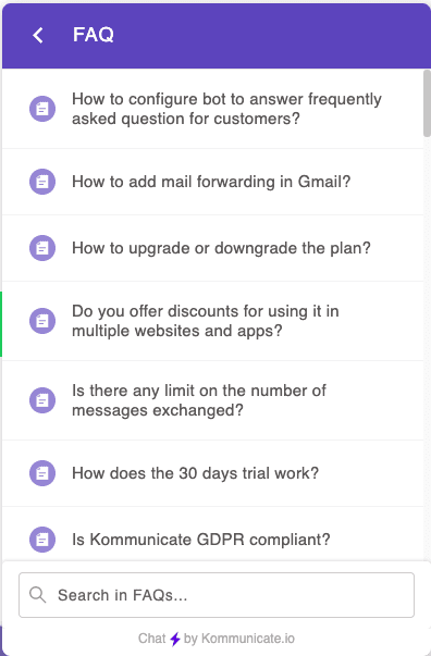 in chat FAQs help in automating customer service