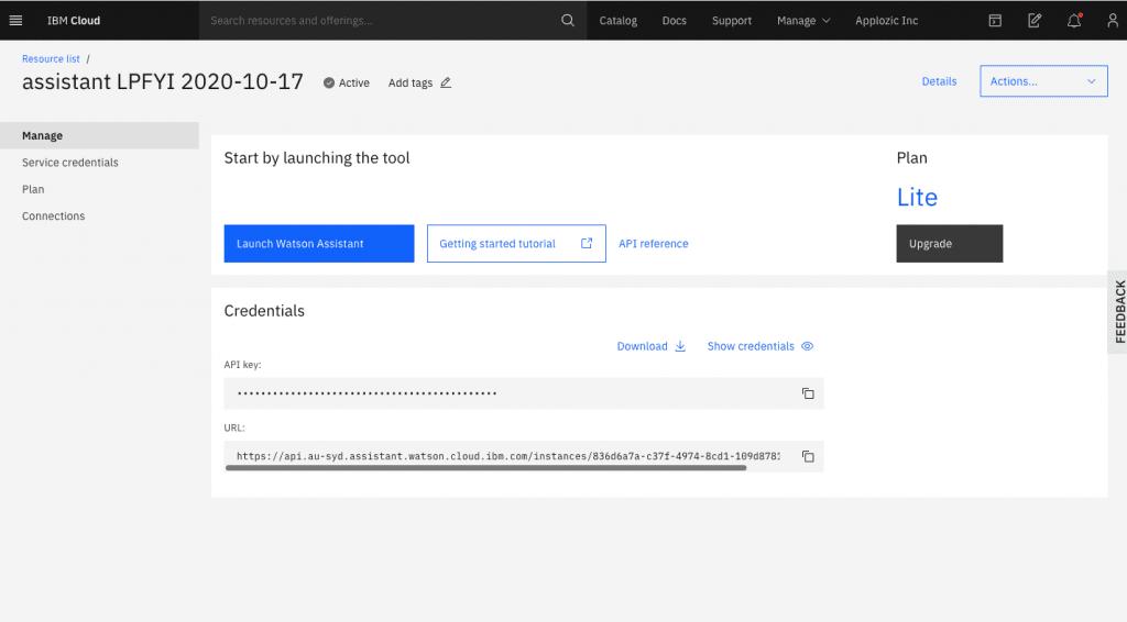 IBM Watson dashboard - API key