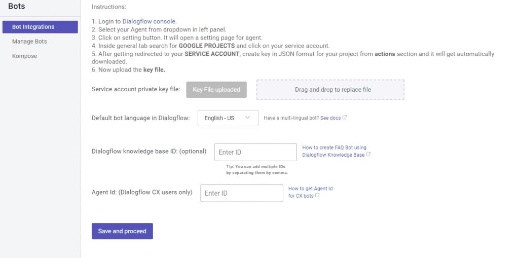 Dialogflow bot integration