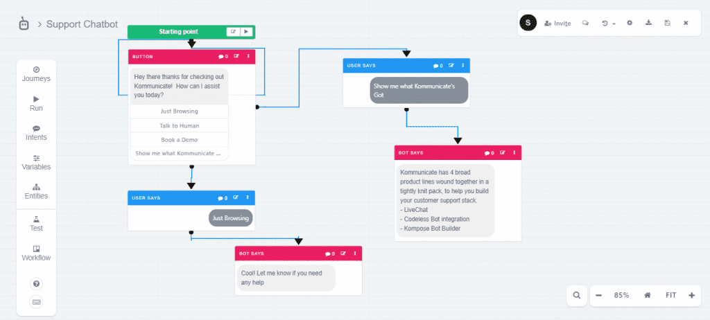 Botmock - chatbot design flow map
