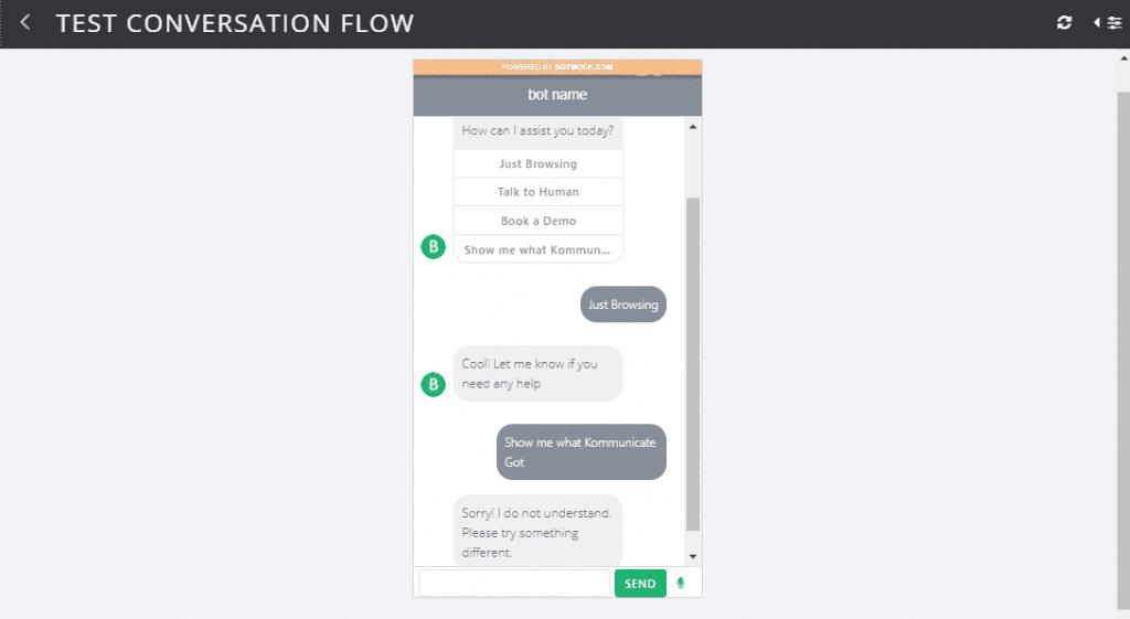 test chatbot design and conversation flow