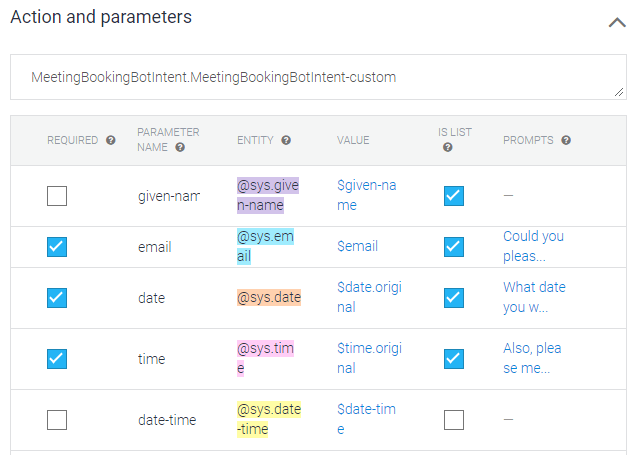 Action parameters
