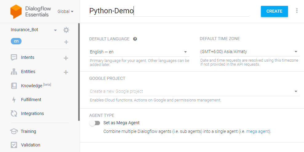 dialogflow chatbot python - creating an agent