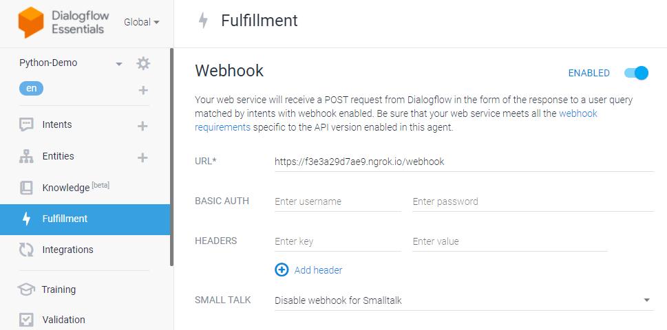 dialogflow python chatbot - fulfillment