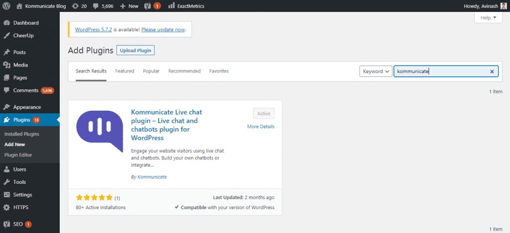 Kommunicate WordPress plugin