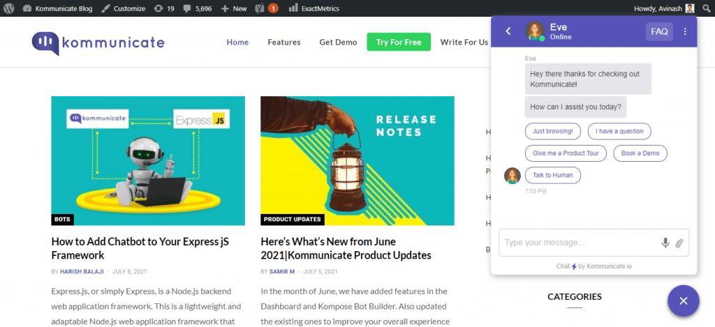 WordPress chatbot widget