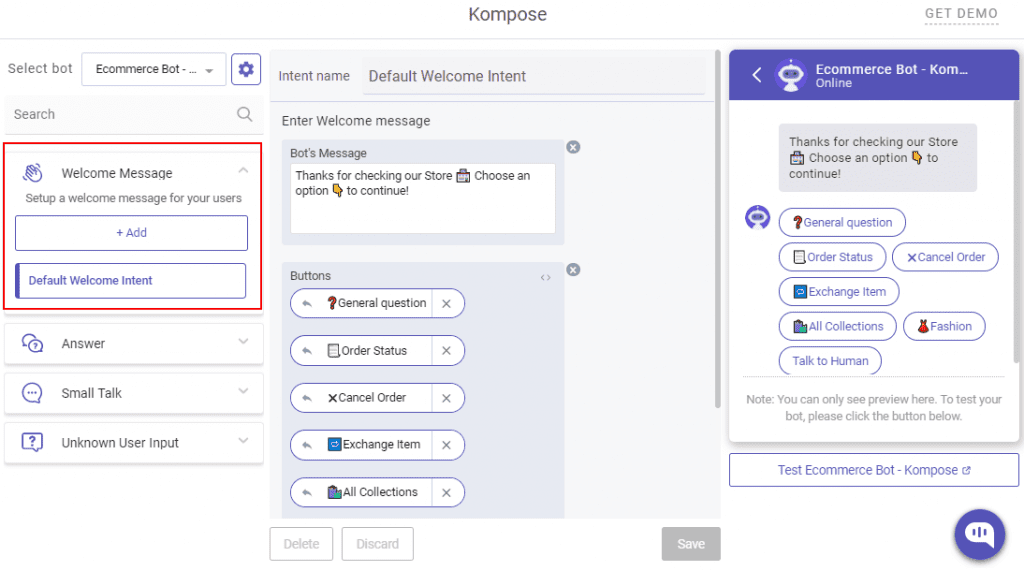 create shopify bots with Kompose